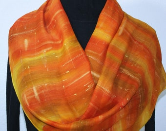 Hand Painted Silk Wool Scarf OrangeYellow Warm Silk-Wool Scarf SUNSHINY DAY, by Silk Scarves Colorado. Select Your SIZE! Mother Gift.