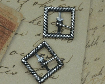 SALE 2 Silver Braided Buckle Findings 1558
