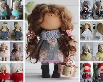 Interior Tilda Doll Textile Soft Doll Handmade Fabric Doll Blue Cloth Doll Baby Nursery Doll Rag Decor Doll Original Gift for her Oksana Z