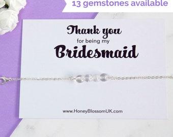 Bridesmaid Thank You Bracelet - Sterling Silver Gemstone Bracelet - Bridesmaid Gift - Bridal Party Jewelry - Bridesmaid Rose Quartz Bracelet