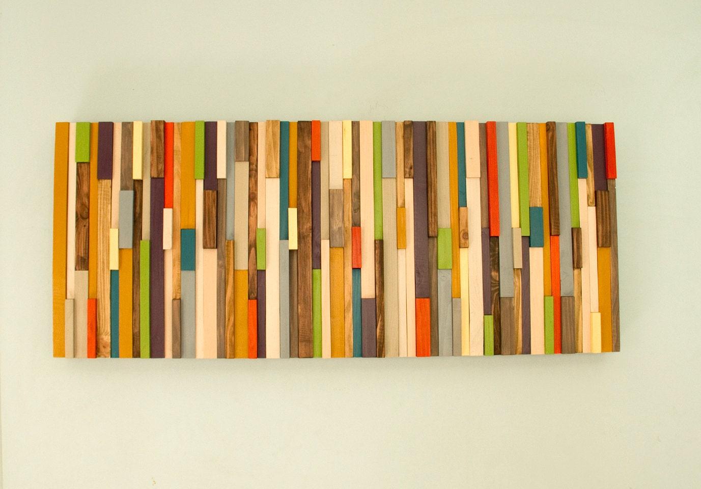 Modern Large wall art, reclaimed wood art sculpture, painted wood ...