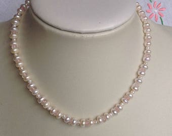 Pearl and Rose Quartz Sterling Silver Necklace