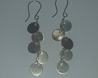 Sterling Earrings ~ Silver Multi-Disc Dangle Drop Earrings