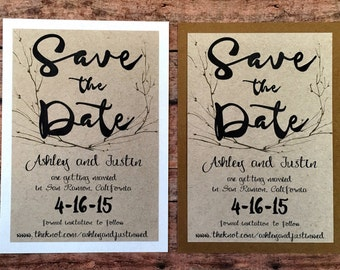 Save the date cards, set of 10 printed eco friendly kraft handmade wedding cards, woodland nature save the dates, simple rustic invitations