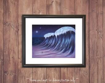 Fantasy Landscape Art Print, Fantasy painting, Landscape painting, Alien Landscape, Arctic Ocean, Night Sky