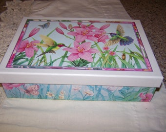 Flowery Keepsake Box with a Drawer