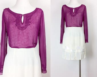 Vintage silk sheer bead embroidered blouse/shirt/top women's size S/M