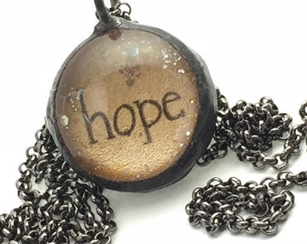 HOPE Necklace, Soldered Glass Bubble Charm Necklace, Soldered Glass Necklace, Religious Gift, Inspirational Jewelry, Kyleemae Designs