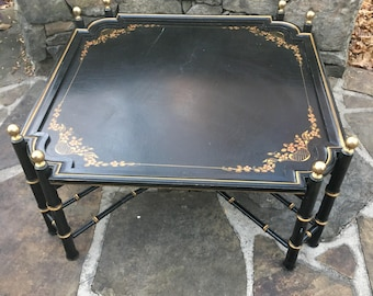 Black Coffee Table with Brass Knobs Gold filligree