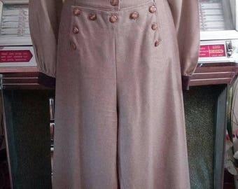 "set ""western style"" (jacket + pants) beige wool"