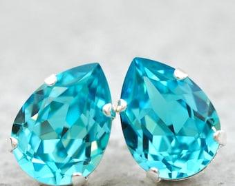 Turquoise Bridesmaids Earrings Swarovski Crystal Pear Studs Light Turquoise Tear Drop Clip On Leverback Earrings Pendant Necklace Aquamarine