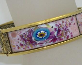 Vintage Harris of Florida Floral Enamel Hinged Bangle Bracelet