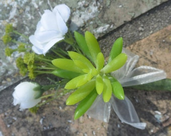 White Succulent Boutonierre