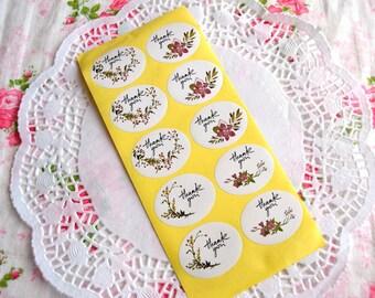 Flower Thank You Sticker, Thank You Sticker, Wedding Sticker, Thank You Label, Floral Sticker, Envelope Seals, Packaging Sticker 30 pcs