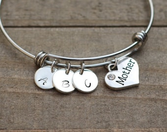 Mother gift, Mother bracelet, Personalized Initials Mother Bracelet, Customized Bangle Bracelet, Mother's day gift, Christmas present