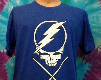 Men's MEDIUM Tampa Bay Lightning GRATEFUL DEAD T-Shirt Stealie Face