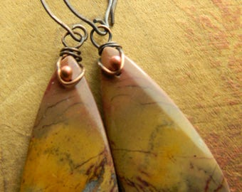 Mookaite Earrings Jasper Copper Wire Wrapped Pink Mauve Yellow Gold