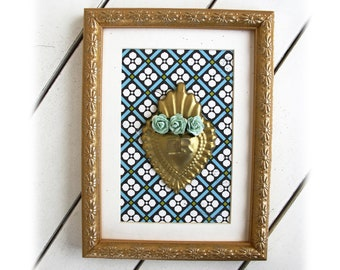 Framed gold Sacred Heart with roses ex voto frame ex voto wall art decor mexican sacre coeur