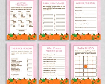 Fall Baby Shower Games Package, Six Baby Girl Shower Games Bundle, Pink Pumpkins, DIY Printable, INSTANT DOWNLOAD
