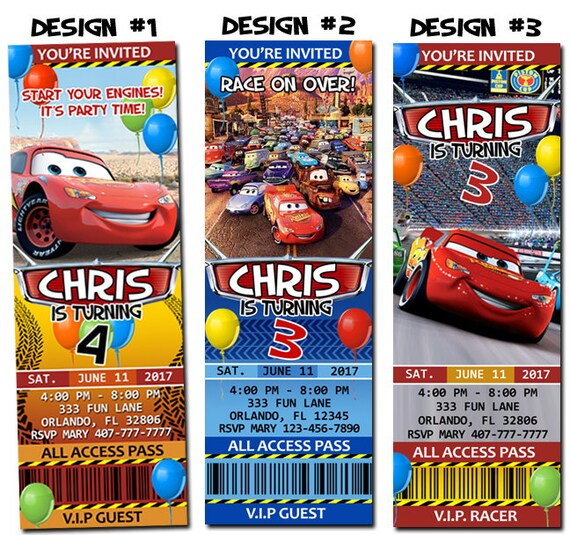 Disney pixar cars lightning mcqueen birthday party photo disney pixar cars lightning mcqueen birthday party photo ticket invitations printable filmwisefo Gallery