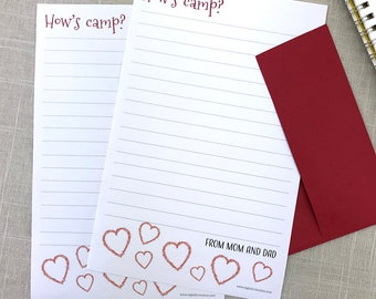 Camp Stationery from Home, Stationery from Mom, Personalized Stationery Set, Stationery Letter Sheets, Custom Stationary Set