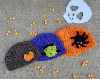 Halloween Beanies (3 Choices)- Halloween Hats- Spider Hat- Frankenstein Hat- Pumpkin Hat- All Sizes