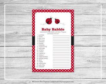 Ladybug Baby Shower Baby Babble Game - Printable Baby Shower Baby Babble Game - Ladybug Baby Shower - Ladybug Shower - Baby Words - SP140