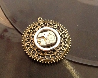 Victorian;Steampunk;vintage;watch;filagree;pendant;brooch;mixed media