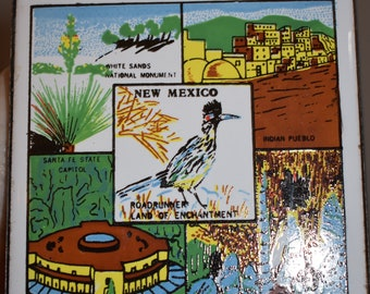 New Mexico Souvenir Ceramic Tile/ New Mexico Souvenirs/ Vintage New Mexico Souvenirs/ State Tile Souvenirs/ Roadrunner Souvenirs/ Americana