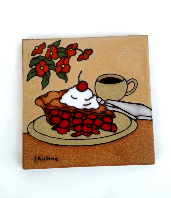 Vintage Southwestern Style Decorative Terracotta Tile with Slice of Cherry Pie