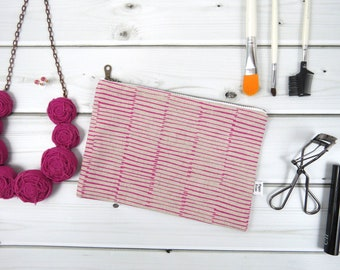 Linen Lace clutch  zipper pouch medium size - BERRY - pink canvas cosmetic bag, passport case, valentines gift
