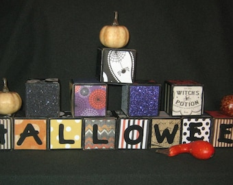 "2 inch - Set of 9 - ""HALLOWEEN"" LETTER BLOCKS - Hand Painted with Halloween Paper"