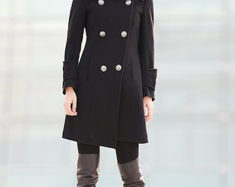Military jacket, winter coat, wool coat, black coat, women wool coat, Military coat, women coat, high collar coat, asymmetrical coat C211