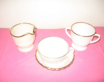 Vintage Milk Glass Tea Set - Vintage Fire King Milk Glass With Gold Border - Fire King Oven Ware