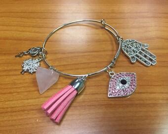 Hamsa Evil eye bangle bracelet , evil eye bracelet, Hamsa bangle bracelet, Tree of life bangle bracelet Tassel bracelet