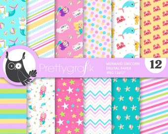 80% OFF SALE Mermaid unicorn digital papers, commercial use, unicorn scrapbook papers, wedding papers, background, flowers, floral - PS925