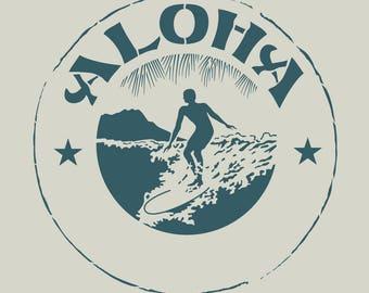 Surfer. Surfing stencil. Surfer stencil. Tahiti stencil. Stencil aloha (ref 237)