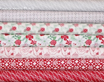 7 fat quarters... Kate Spain MERRY MERRY by Moda Fabrics ... Snow, Ribbon and Tinsel colorways, grey, red green, Christmas, holiday, winter