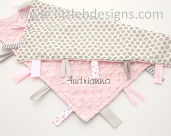 Tag Blanket Personalized Ribbon Lovey - Gray Dot Satin and Light Pink Minky