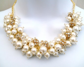 Pearl and Rhinestone Beaded Necklace, Bridal Jewelry, Cluster Necklace, Chunky Necklace, Bridesmaid Gift - Pearl and Crystals by Kim Smith