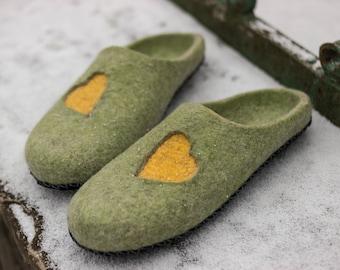 Mindful Birthday gift for men felt slippers best friend gift Wool slippers for him felted slippers House Shoes gift for him House Slippers