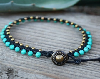 Gypsy Anklet, Macrame Anklet, Turquoise Magnesite, Beaded Macrame, Beaded Anklet, Button Clasp Anklet, turquoise Anklet, Boho Anklet