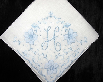 Engagement gift for the bride - bridal shower gift ideas - vintage handkerchief monogrammed/First or New Last Name Initial