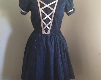 "1950s blue polka dot square dance dress SW S 27"""