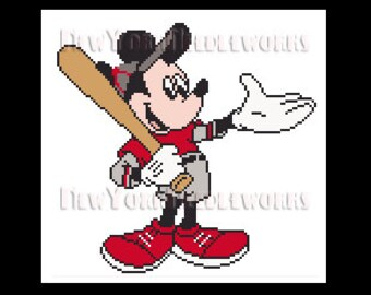 Mickey Baseball Player, Cross Stitch, Mickey Mouse Cross Stitch, Disney Cross Stitch, Baseball Cross Stitch, Disney, NewYorkNeedleworks Etsy