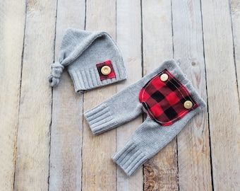 Newborn Photo Prop Upcycle Boy Outfit Pants with Bum Flap Baby Boy Set Plaid Checker Gingham Lumber Jack Knit Fabric Outfit - Ready to Ship