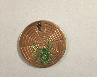 Spider web with fly, vintage button hand painted (1910-20)