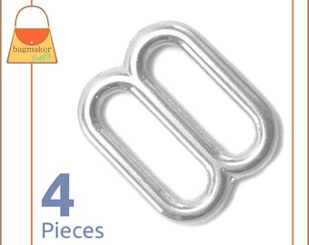 "3/4 Inch Cast Slides for Purse Straps, Nickel Finish, 4 Pieces, .75 Inch, 3/4"", .75"", Handbag Purse Bag Making Hardware Supplies, BKS-AA005"