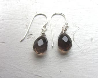 Brown Smokey Quartz Earrings, Smokey Quartz, Brown Smokey faceted quartz, sterling silver earrings, Brown quartz, silver earrings