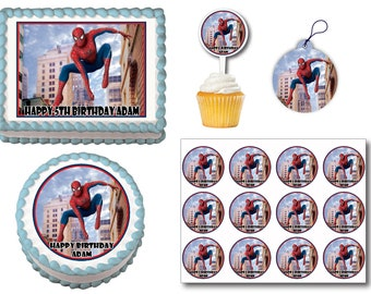 Spiderman Edible Birthday Cake Toppers, Plastic cupcake Picks, Gift Tags or Stickers